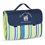 Picnic Traditions Large Picnic Blanket Water Resistant Tote - Great for Picnics, Camping on Grass, at The Beach, Tailgating at Stadiums, Durable Mat has Waterproof PEVA Backing - 69 x 53 in. (Blue)