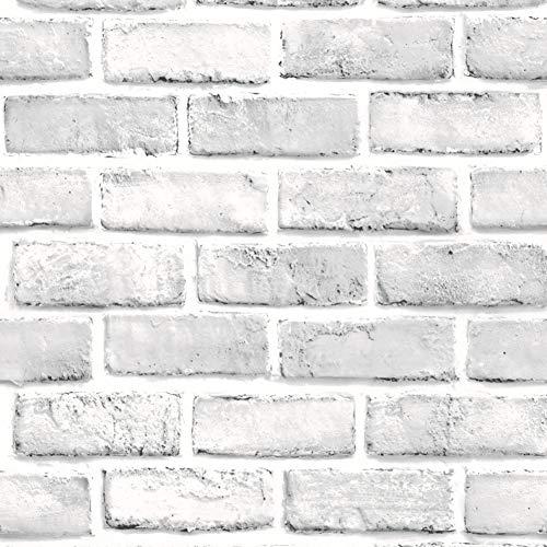 XIAOMEI 3D Falso Ladrillo Pegatina de Pared,PVC Impermeable Autoadhesivo Etiquetas Pelar y Pegar Backsplash Pegatina de Pared para el salón Oficina 10m-Blanco