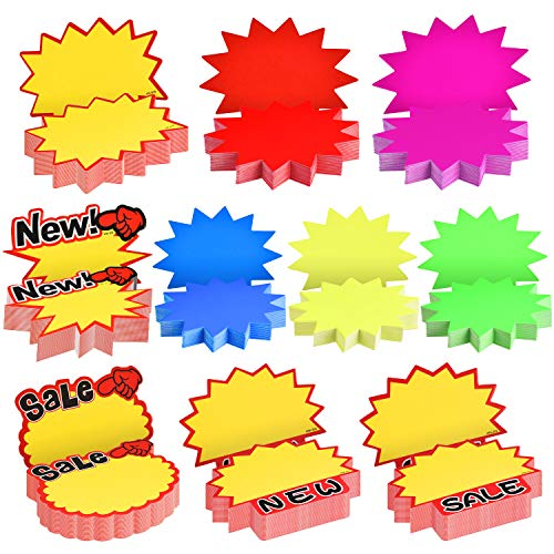 500 Pieces Burst Signs Fluorescent Signs Blank Star Shape Retail Sale Tags Burst Paper Signs for Retail Store Party Favors, 10 Styles (Irregular Shape)