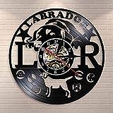 jiushixw Reloj de Pared para Perro Labrador pensión Dorada Cachorro Fuente Registro Reloj de Pared decoración del hogar Regalo para Amante Perro máquina de Arte Moderno Reloj de Pared