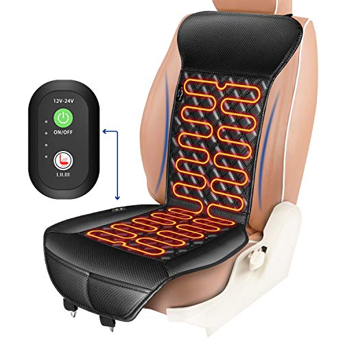 ELUTO Heated Car Seat 12V/24V Car Heated Seat Covers Cushion Pad Car Seat Warmer with Intelligent Temperature Controller 3 Levels Heating for Cars Truck