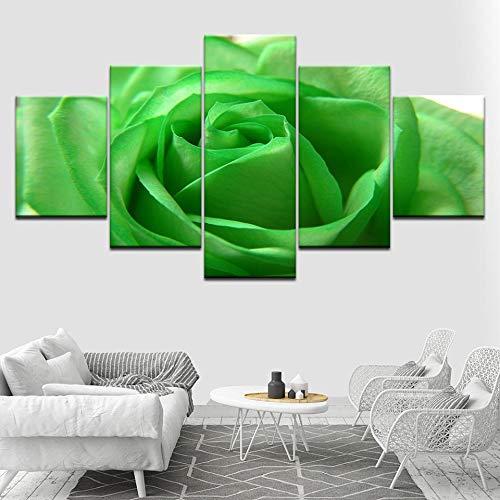 LWJPD Cuadro en Lienzo 5 Partes Papel Pintado De Lienzo De Flor De Rosa Verde Cartel Moderno Pintura De Arte Modular Sala De Estar Decoración del Hogar Sin Marco 20 Inch