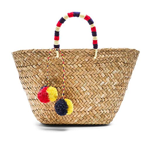 Bolso de playa bolso de mano de paja bolsos de verano letra flor mujer Flora bolso trenzado recién llegados Regalo de alta calidad 23x24x14cm