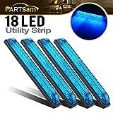 Partsam 4Pcs Slim Line Blue Led Utility Strip Bar Lights 18 Diodes 12V Surface Mount with Rubber Gaskets Sealed Lighting Deco RV Boat Marine Led Lights 8 Inch Trailer Side Marker Lights Truck Lamps