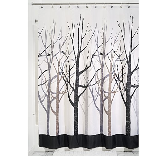 iDesign Forest Shower Curtain, Stall 54 x 78, Gray/Black