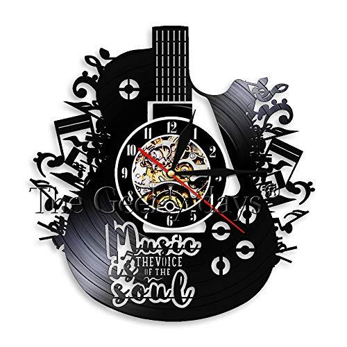 Gitarre Einzigartige Musik Schallplatte Wanduhr Lasergeschnittene Musik Soul Vinyl Uhr Uhr 3D Rock Band Home Decor Geschenk für Singer Idol-Mit
