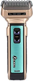 Kemei KM-Q601 3 in 1Men's Portable Electric Shaver EU Plug With Hair Cutter Twin Blades Multi-Function Travel Use Safe Shaver Nose Hair Trimmer Adults Hair Clipper Gold