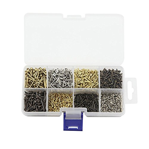 Small Wood Screws and Nails Set, Linwood Bronze Silver Gold Universal Self Drilling Screws and Panel Pins Assortment (Nails & Screws)