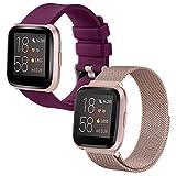 2 Pack Cinturini Acciaio/Sportivo Cinturino Compatibile con Fitbit Versa/Fitbit Versa Lite/Fitbit Versa 2 Cinturino,Smartwatch Accessori Bracciale di Ricambio,Large,Metallo Rosa Oro/Silicone bordò