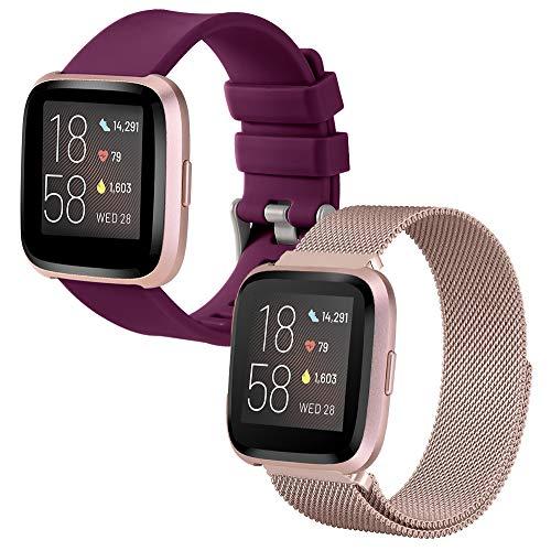SINPY Cinturini per Fitbit Versa,2-Pack Acciaio/Sportivo Cinturino Compatibile con Fitbit Versa Lite/Fitbit Versa 2 Smartwatch Accessori Bracciale di Ricambio,Metallo Rosa Oro/Silicone Bordò