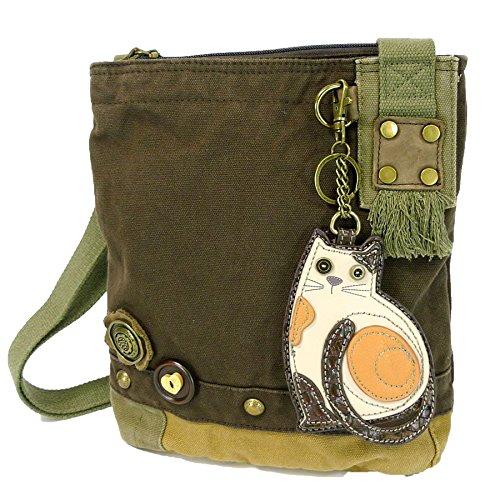 Chala Patch Cross-Body Women Handbag, Dark Brown Canvas Messenger Bag -...