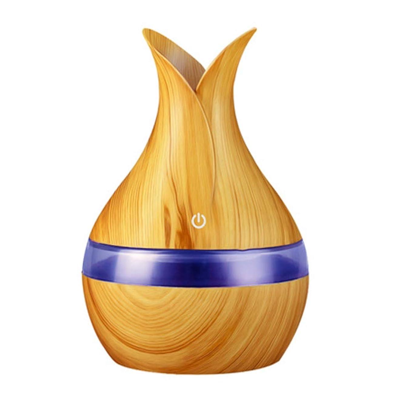 眉をひそめるステップ尽きる300ミリリットル超音波クールミスト加湿器カラーLEDライト付き自宅、ヨガ、オフィス、スパ、寝室、ベビールームの拡散器 - 木目調子 (Color : Light wood grain, Size : 165mm*110mm)