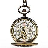 HUAQINEI Reloj de Bolsillo,patrón de Jaula de pájaros del país de Las Maravillas Sra.Reloj de Bolsillo mecánico automático Retro Cute Flip Student Copper