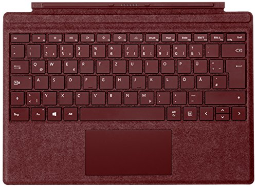 Microsoft Surface Pro Signature Type Cover (Kompatibel mit Surface Pro 6/Pro/Pro 4/Pro 3, LED-Hintergrundbeleuchtung, Qwertz Tastatur) bordeaux rot