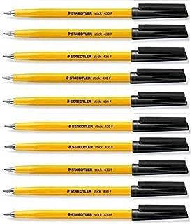 Staedtler Stick 430 Fine Ballpoint Pen 0.3mm Black Regular Ink Flow (Pack of 10)
