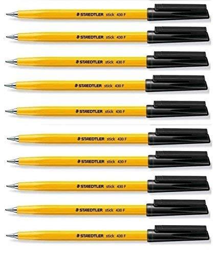 "Staedtler Kugelschreiber ""Stick 430"", fein, 0,3mm, schwarz, regelmäßiger Tintenfluss (10Stück), lose"
