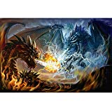 Puzzles for Adults 1000 Piece Fire Dragon and Electric Dragon Fight Puzzle Game for Indoor Activity Family Game Toy Christmas Gifts