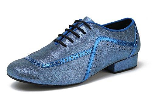 MINITOO Herren Latin Ballroom Wingtip Oxford Style Blau Glattleder Social Tanzschuhe EU 40.5