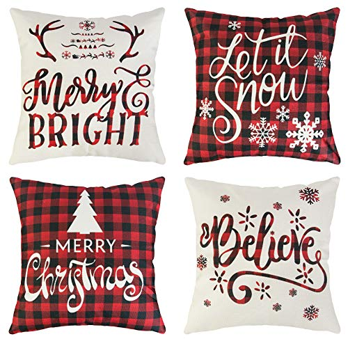 Ouddy 4Pcs Christmas Pillow Covers, Holiday Winter Throw Pillow Covers 18x18 Farmhouse Merry Christmas Quotes Saying Tree Snowflake for ElK Linen Cushion Case for Sofa Home Decor