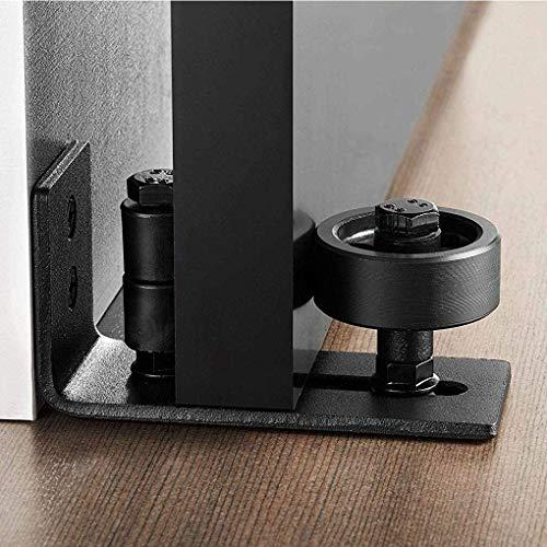 Schiebetürsystem Laufschiene, verstellbare Wandtürführung mit 8 verschiedenen Einstellungen,Schwarz pulverbeschichtete Scheunentor-Rollenführung Passend für alle Scheunentore