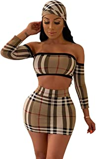 ceb9ce48daa7 LKOUS 2 Piece Outfits for Women Summer Short Sleeve Bodycon Crop Top and Short  Skirt Dress