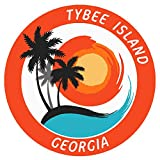 Tybee Island, Georgia Tropical Scene Decorative Car Truck Window Sticker Decal Vinyl Die-Cut Badge Emblem Vacation Souvenir Travel Gear Ocean Island Beach
