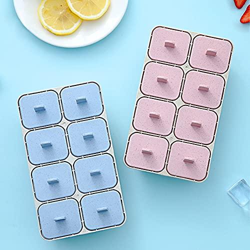 2 pièces Moule à Glace,Ensemble de 8 Moules Specool,Réutilisable DIY Frozen Ice Cream Pop Moules,pour la préparation de Popsicles, Crèmes Glacées, Sorbets,Rose ,Bleu