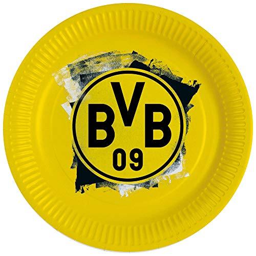 Amscan 9908525 - Partyteller BVB, 8 Stück, Größe 23 cm, Borussia Dortmund, Pappteller, Einweggeschirr, Fußball, Party, Fan, Geburtstag