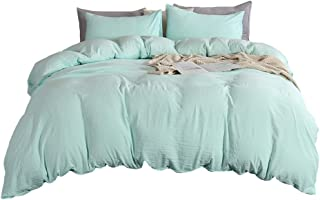 MOVE OVER 3 Pieces Mint Green Bedding Green Duvet Cover Set 100% Solid Color Washed Microfiber Quilt Cover Soft Mint Bedding Sets Queen (90x90) 1 Duvet Cover 2 Pillowcases (Queen, Mint Green)
