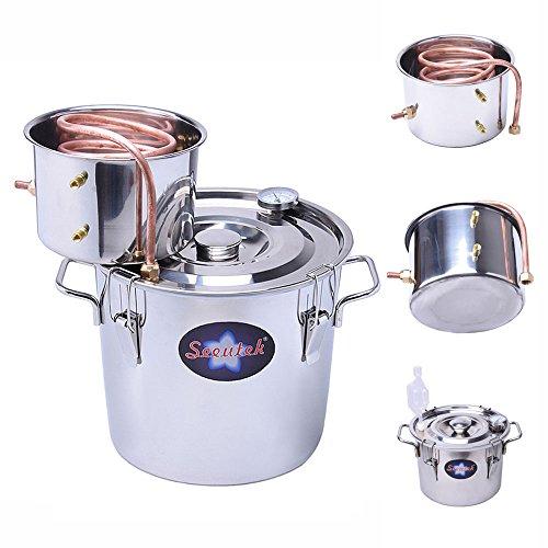 Seeutek 8 Gal 30 Litres Home Alcohol Water Distiller Copper Moonshine Still Kit Stainless Steel Spirits Boiler