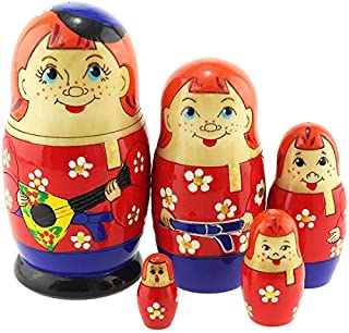 Azhna 5 pcs Russian Boy Nesting Doll Woodburned and Hand Painted Russian Doll 10.5 cm Wooden Stacking Doll