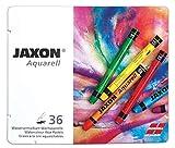 Honsell 49437 - Jaxon Aquarell Wachspastellkreide, wasservermalbar, 36er Set im Metallkasten, hohe Farbbrillanz, satter Farbaufstrich, für Künstler, Hobbymaler, Kunstunterricht