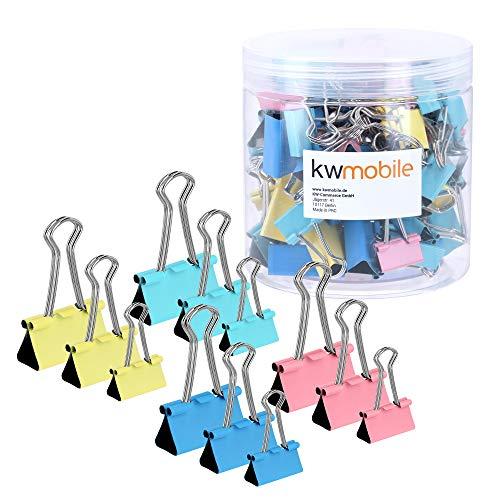 kwmobile Set de 60 Clips en diferentes tamaños - Pinzas para papel de metal - 19MM 25MM 32MM - Azul rosa amarillo y menta