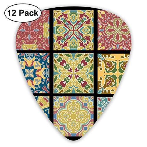 Slaytio 12-teiliges Gitarrenplektren aus Keramik für marokkanische Vintage Weine, 0,96 mm, 0,71 mm, 0,46 mm, Mode für Gitarre, Mandoline und Bass, Ihre E-Gitarre