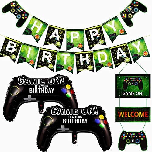 Forniture per videogiochi, striscione di gioco di buon compleanno e 2 pezzi gioco sul controller in alluminio palloncini e decorazione di benvenuto, decorazioni per feste a tema per bambini e ragazzi