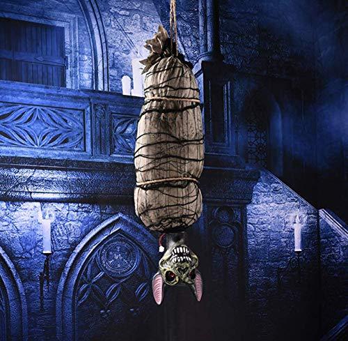 YC DOLL Halloween Hanteurs Animés 4 Pieds Suspendus Lumière-Up Secouant Corps Cocon Décoration De Cadavre Prop-Scary LED Yeux, Hurlements-Creepy Pendaison Cocon Momie