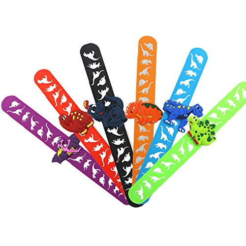 6 Pcs Snap Bands Wirst Bands, Dinosaur Slap Bands, Animal Slap Bracelets, Dinosaur Party Supplies, for Favours Birthday Gifts, Dinosaur Party for Kids Girls Boys(6 Colors)