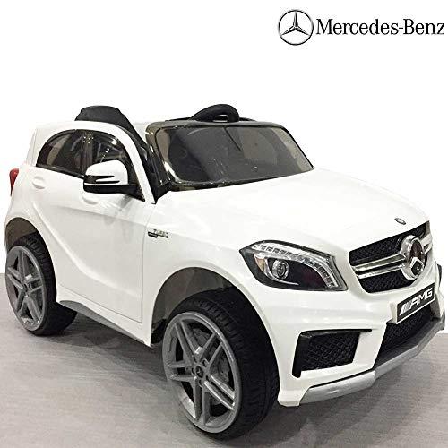 BAKAJI Auto Elettrica per Bambini Mercedes A45 AMG 12CV con Telecomando 2,4 GHz, Sedile in Pelle E Impianto Audio Mp3. (Bianco)