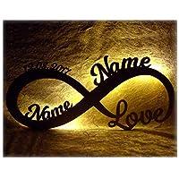 Luce per ambienti, simbolo dell'infinito personalizzato con nomi, data, anniversario, data matrimonio. Illuminazione indiretta a LED, alimentazione mediante 2batterie AA. Compreso materiale di fissaggio, per montaggio a parete. Prodotto unico. Made ...