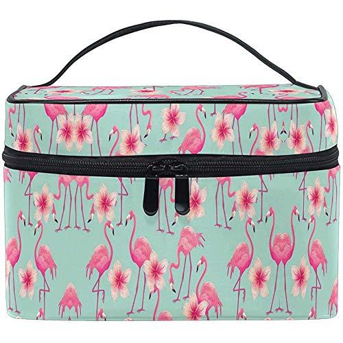 Cartoon Flamingo Cosmetic Bag Tropical Flowers Travel Cosmetic Brush Bag Storage Organizer Large for Women