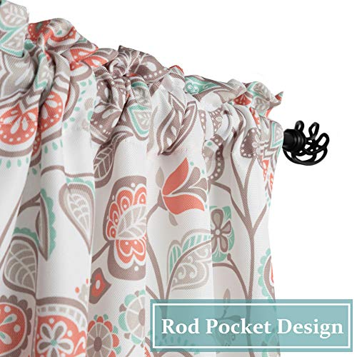 oremila Kitchen Curtain Valance Multi-Color Floral Window Valance for Kitchen and Bathroom, Rod Pocket, 54