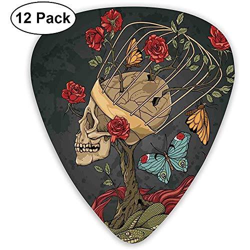 Skeleton de azúcar mexicano Skull Evil con Kitsch Arbusto de rosas serpiente y mariposa, color gris oscuro (12 unidades)