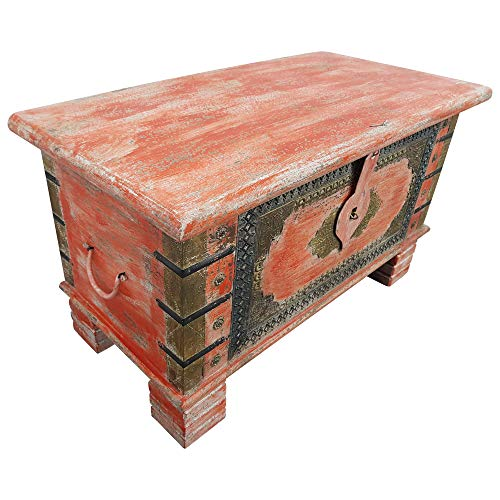 Indoortrend.com Truhe Kiste Holztruhe Box 80 Vintage Rot Shabby Chic aus Handarbeit Unikat 5 - 2