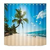 LB Hawaii Style Beach Coastal Shower Curtain Blue Ocean Waves on Seaside with Palm Trees Vacation Print Beach Scene Shower Curtain 60x72 Inch with 10 Hooks