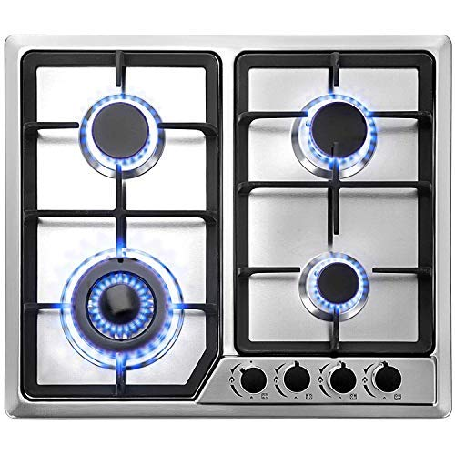 """Happybuy 23""""x20"""" Built in Gas Cooktop 4 Burners Stainless Steel Stove with NG/LPG Conversion Kit..."""