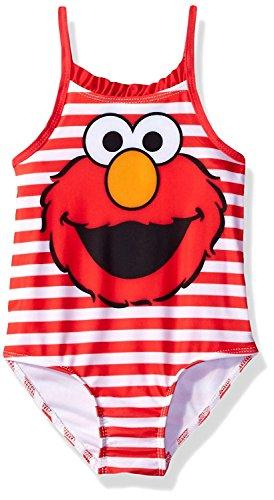 Sesame Street Elmo Girls Swimwear Swimsuit (12 Months, Red Stripe Elmo)