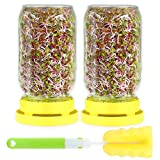 Sprout Growing Kit - Seed Sprouting Set Includes 2pcs Wide Mouth Mason Jar,2pcs Stainless Steel Screen Lid,2pcs Plastic Drip Tray and Cleaning Brush For Growing Broccoli,Alfalfa,And Bean Sprouts