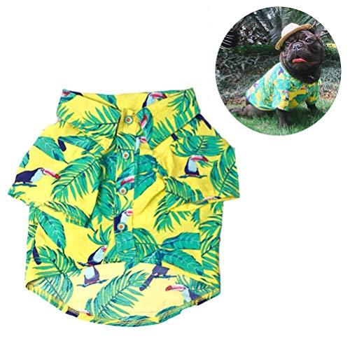 Yu-Xiang Haustierkostüm für Hunde, Cooles Hemd, Hawaii-Stil, Strandkleid, Französische Bulldogge Mops, L, gelb