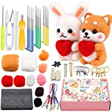 Beginner Felting Kit with Instructions, 2 Pcs Doll Making Manual, Needle Felting Kit with Felting Needles, Foam Mat, Gift Box, and Other Complete Felt Tools for DIY Home Decoration Craft Animal
