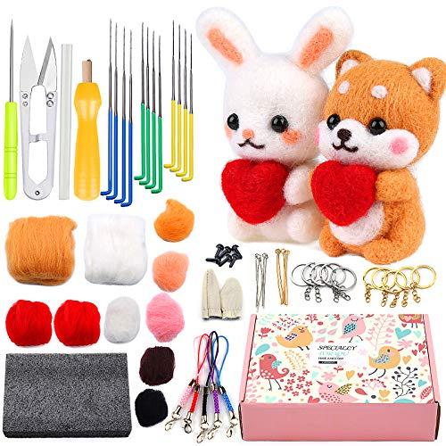Beginner Felting Kit with Instructions, 2 Pcs Doll Making Manual, Needle Felting...